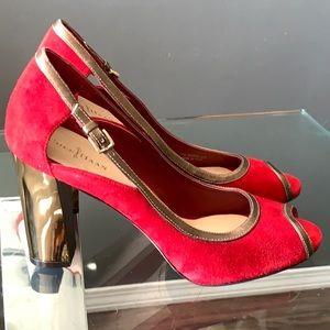 Cole Haan Red Suede Heels